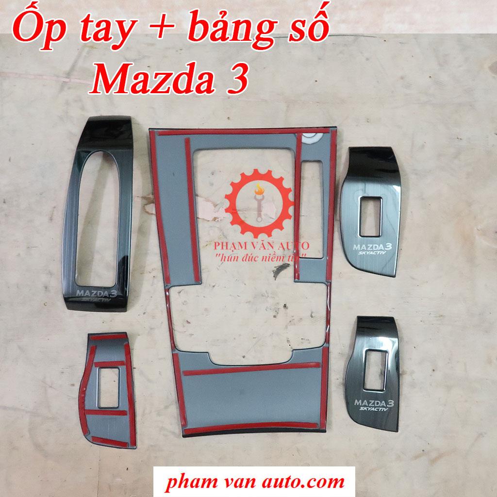 Ốp Titan Tay Bấm Kính Bảng Cần Số Mazda 3 2018-2021 Hàng Chất Lượng Cao